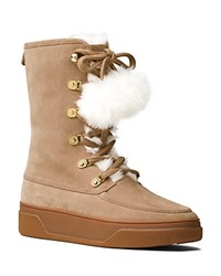 Michael Michael Kors Juno Suede And Faux Fur Pom Pom Lace Up Booties Dark Khaki