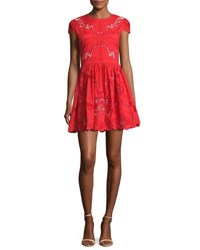 Alice Olivia Karen Embroidered Party Dress Bright Red