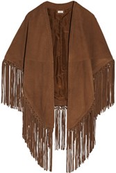 Talitha Fringed Suede Cape Tan