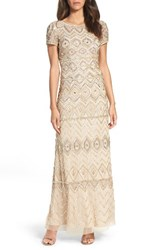 Adrianna Papell Women's Beaded Gown Champagne Gold