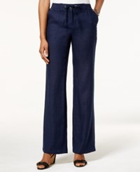 Jm Collection Petite Linen Drawstring Pants Only At Macy's Intrepid Blue