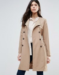 Brave Soul Belted Trench Coat Camel Tan
