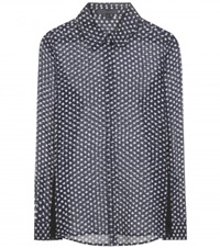 Burberry Printed Silk Blouse Blue