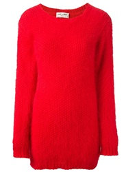 Saint Laurent Thick Knit Long Sweater Red