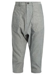 Yohji Yamamoto Regulation Dropped Crotch Cropped Oxford Cotton Trousers Light Grey