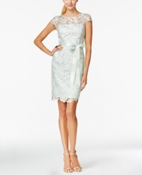 Adrianna Papell Cap Sleeve Illusion Lace Sheath Mint