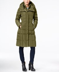 Cole Haan Hooded Long Down Puffer Coat With Vestee Dusty Olive