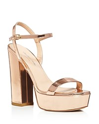 Charles David Retro Metallic Leather Platform High Heel Sandals Rose Gold