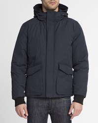 Scotch And Soda Navy Blue Nylon Bib Plume Jacket