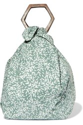 Kayu Net Sustain Kamber Printed Organic Cotton Voile Tote Gray Green
