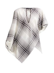 Roland Mouret Durning Check Wool Crepe Top Black White