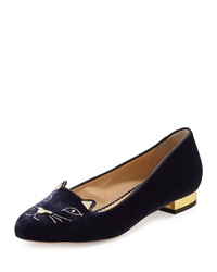 Charlotte Olympia Kitty Velvet Cat Embroidered Flat Navy Gold