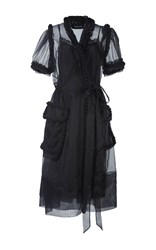 Simone Rocha Wool Braid Embellished Wrap Dress Black