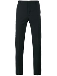 Lanvin Slim Fit Wool Trousers With Lurex Trim Black Silver White