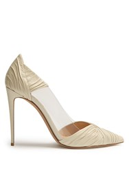 Valentino B Drape Leather Pumps White