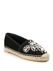 Rene Caovilla Pearl And Embroidery Suede Espadrilles Black