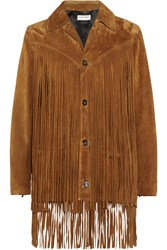 Saint Laurent Fringed Suede Jacket Tan