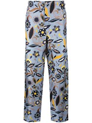 Fendi Floral Print Trousers Blue