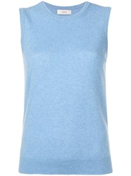 Pringle Of Scotland Sleeveless Knitted Top Blue