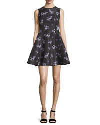Red Valentino Violet Print Faille A Line Dress Black Women's Size 38 0