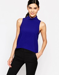 Closet Collared Blouse With Key Hole Back Blue