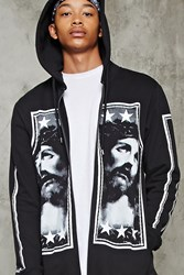 Forever 21 Jesus Graphic Zip Up Hoodie Black White