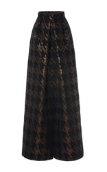 Martin Grant Brocade Houndstooth Long Pleat Skirt Black