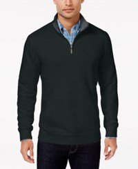 Club Room Men's Big And Tall Quarter Zip Sweater Only At Macy's Deep Black
