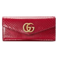 Gucci Broadway Snakeskin Clutch With Double G Red