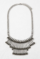 Forever 21 Faux Gemstone Statement Necklace B.Silver Grey
