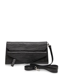 Francesco Biasia Kenton Leather Clutch W Shoulder Strap Onyx
