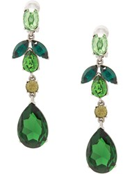 Oscar De La Renta Bold Teardrop Earrings Green