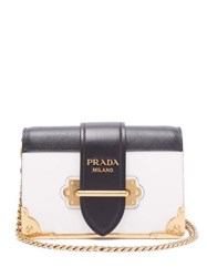 Prada Cahier Leather Cross Body Bag Black White