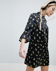 Influence Shift Dress With Mandarin Collar Detail In Satin Buttercup Floral Black