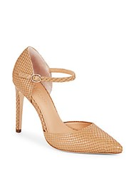 Halston Leather D'orsay Pumps Buff