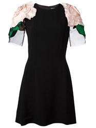 Dolce And Gabbana Rose Applique Mini Dress Black