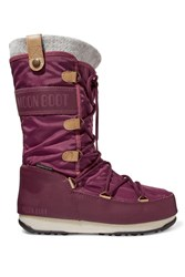 Moon Boot Monaco Felt Lined Shell And Faux Leather Snow Boots Burgundy