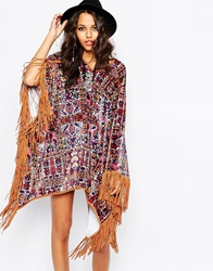 Jaded London Velvet Poncho Cape Coat In Carpet Floral Print And Fringe Detail Multi