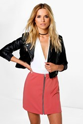 Boohoo Zip Front A Line Mini Skirt Coral