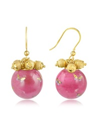 Naoto Alchimia Round Gold Foil Drop Earrings Pink