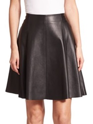 Saks Fifth Avenue Leather A Line Skirt Black