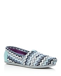 Toms Seasonal Classic Canvas Chevron Flats Blue Gray