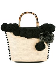 Twin Set Pompom Tote Nude Neutrals