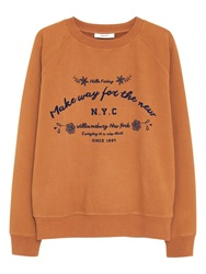 Mango Cotton Printed Message Sweatshirt Dark Brown