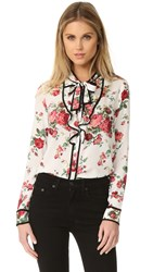 Re Named Floral Neck Tie Blouse White Red