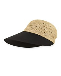 Helen Kaminski Melissa Raffia And Cotton Cap Black