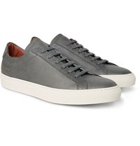 Common Projects Achilles Pebble Grain Leather Sneakers Dark Gray