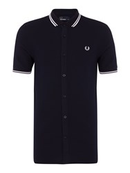 Fred Perry Men's Twin Tipped Waffle Short Sleeve Shirt Navy