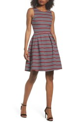 Felicity And Coco Scarlette Stripe Fit Flare Dress Navy Red White Stripe