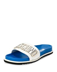 Moschino Logo Front Leather Slide Sandal Blue White Women's